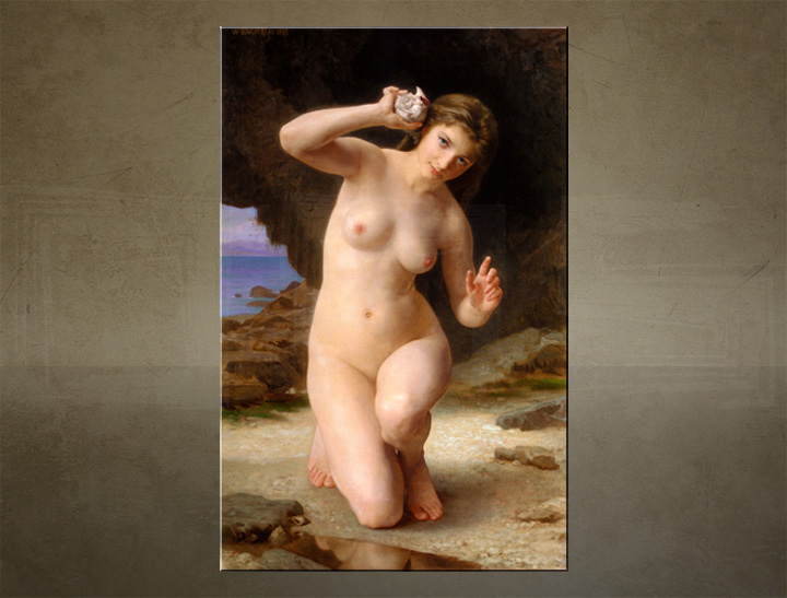 Slika na platnu WOMAN WITH SEASHELL - Wiliam Bouguereau
