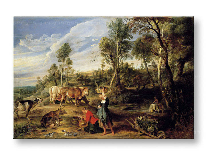 Slika na platnu MILKMAIDS WITH CATTLE IN A LANDCAPE – Peter Paul Rubens