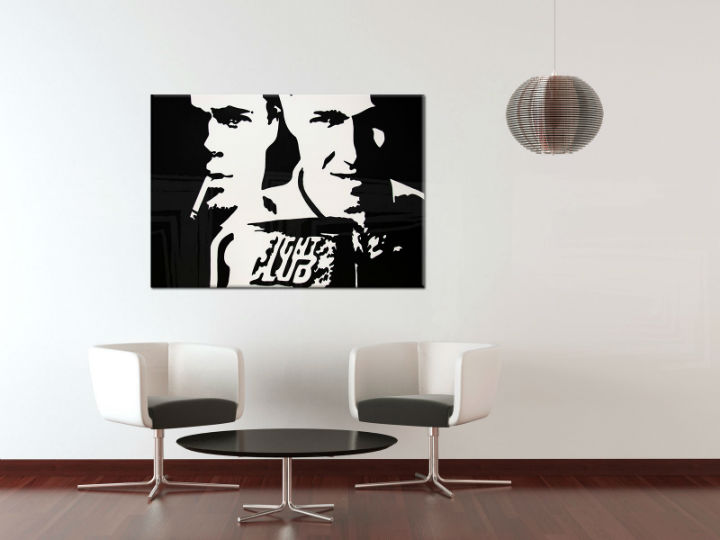 Ručno slikane slike na platnu na platnu POP Art Fight Club 100x80 cm